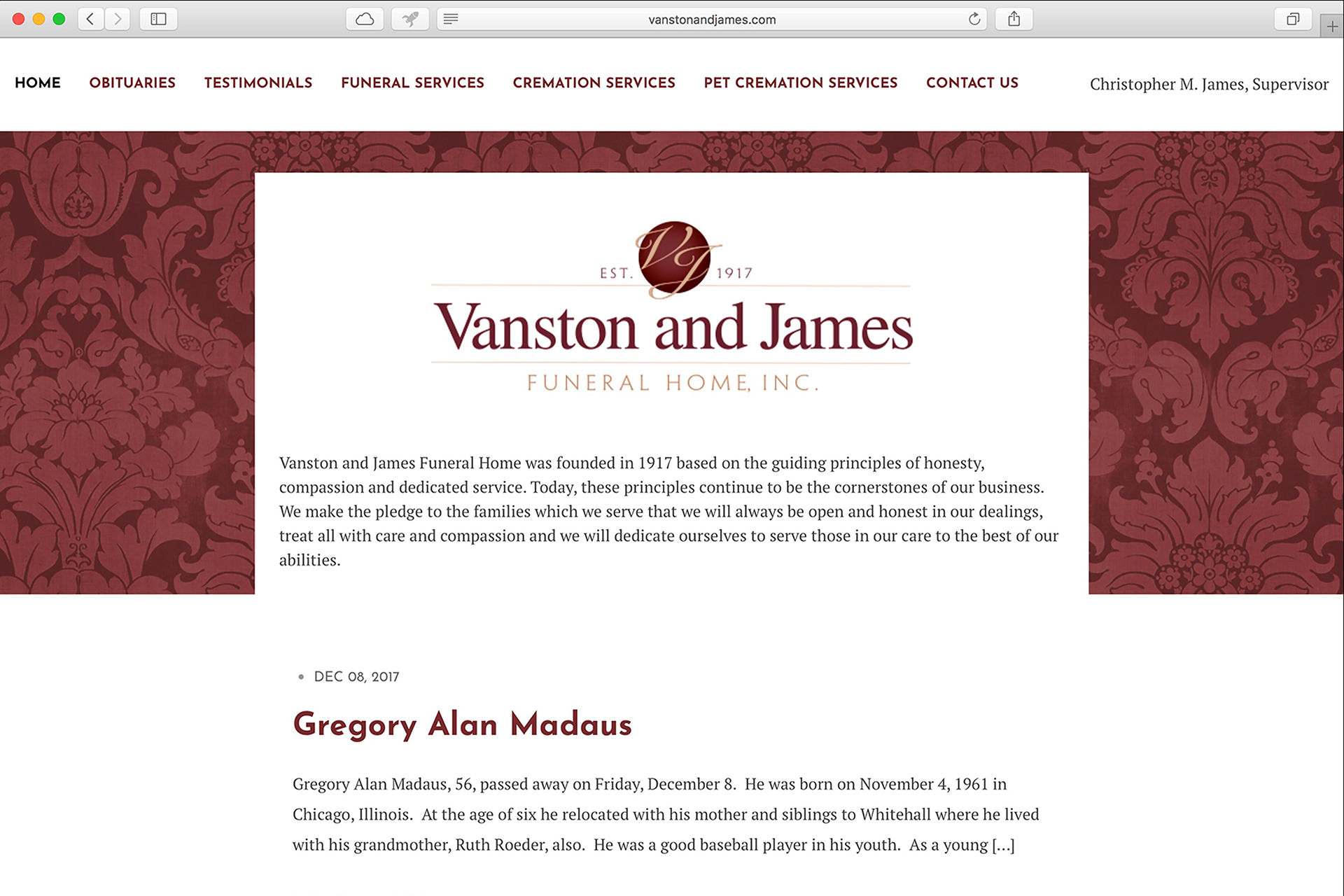 Vanston & James Funeral Home – A Responsive Web Site